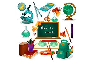 School supplies and objects