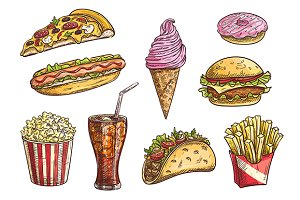 Fast food hand drawn sketches