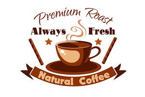Natural coffee emblem