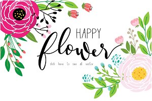 HAPPY FLOWER SET hand drawn vector