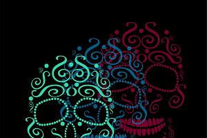 Skull vector neon color