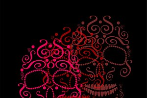 Skull vector ornament pink