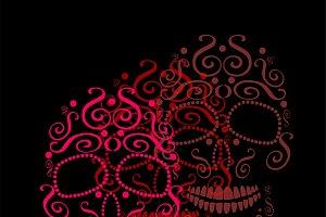Skull vector ornament pink