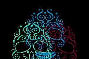 Skull vector ornament neon color