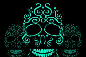 Skull vector ornament neon color
