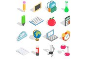 School icons set, isometric 3d style