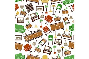 Home furniture seamless pattern