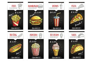 Fast food menu posters and banners