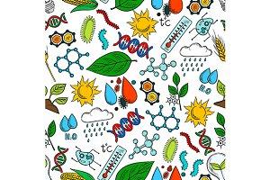 Nature ecosystem seamless pattern