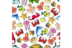 Cute sea and ocean animals pattern