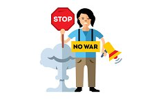 Pacifism. No War. Protest Woman