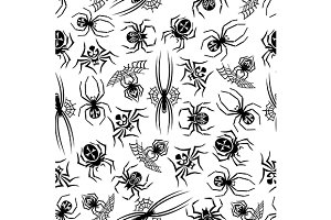 Black spiders seamless pattern