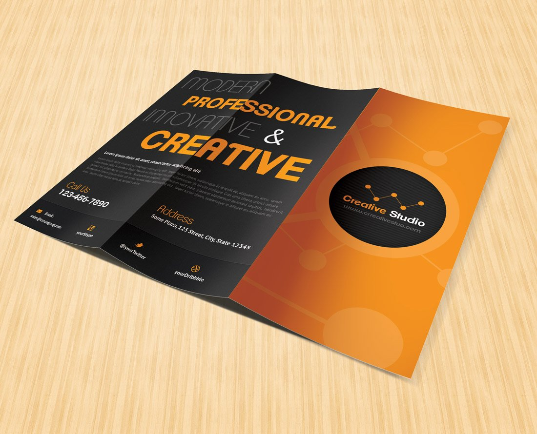 unique brochure templates - creative studio trifold brochure brochure templates