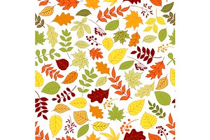 Autumn leaves and berries pattern
