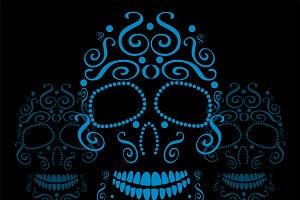 Skull vector ornament neon blue