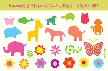 Animals and Flowers vector cliparts