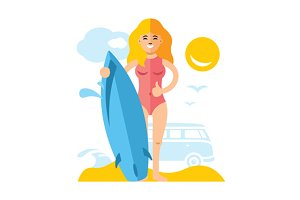 Girl with surfing