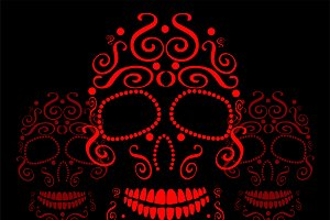 Skull vector ornament red color