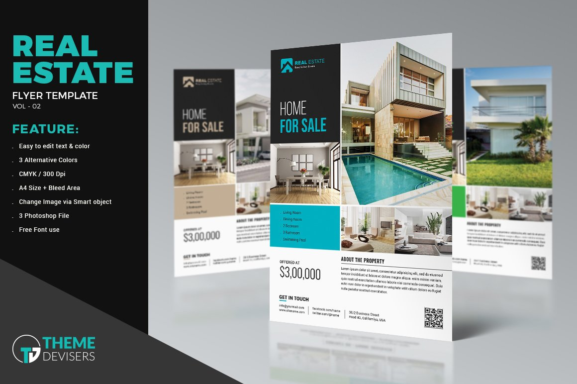 Real estate flyer template flyer templates creative market for Real estate prospectus template