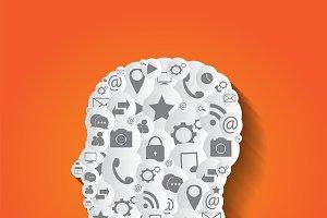 Social media icons, human head