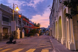 Dusk view of Armenian Street, Penang