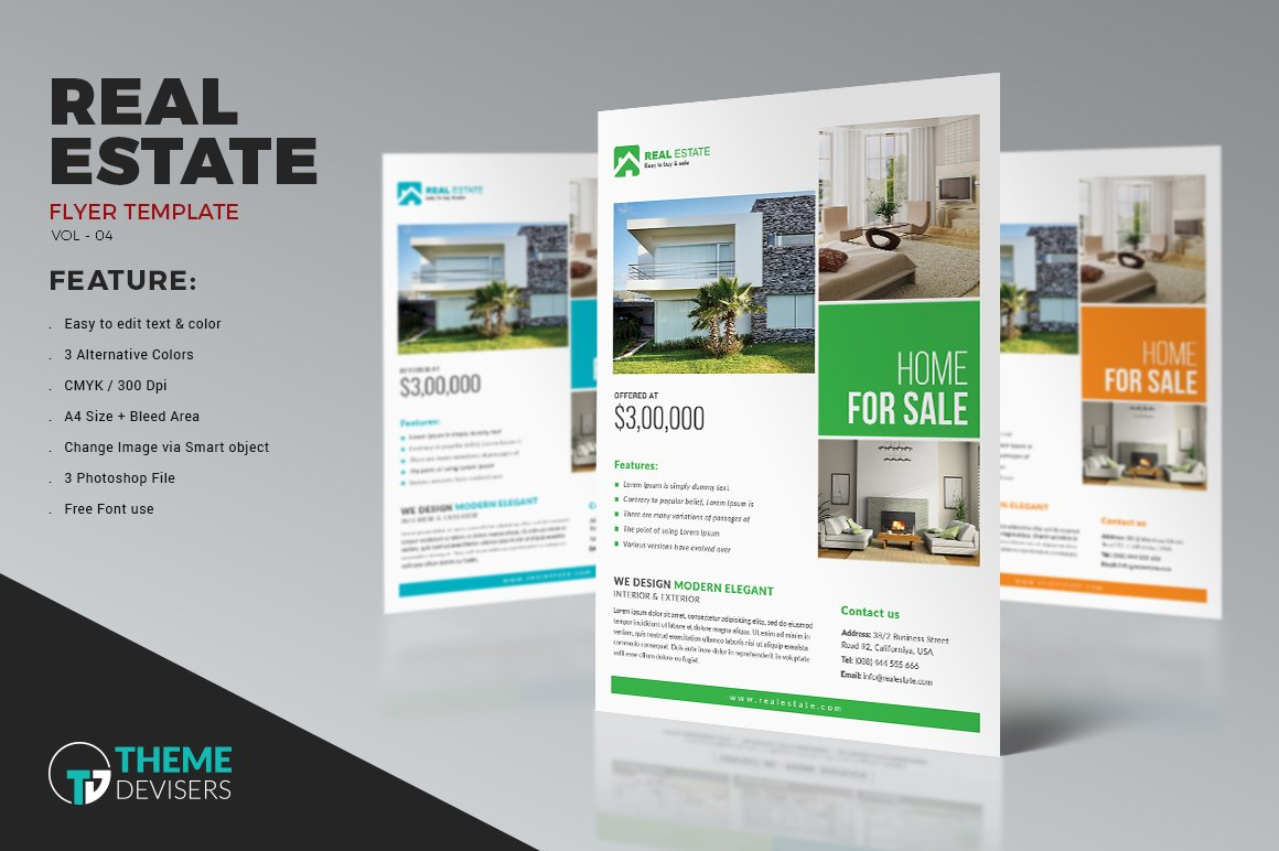 real estate flyer flyer templates on creative market