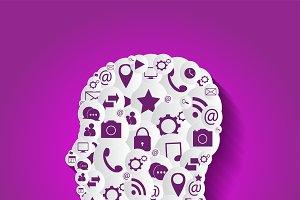 Social media icons, human head pink