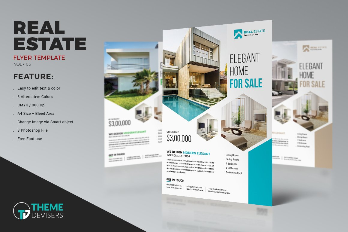 real estate business flyer template flyer templates creative market. Black Bedroom Furniture Sets. Home Design Ideas