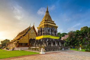 Wat Chiang Man at sunrise, Thailand