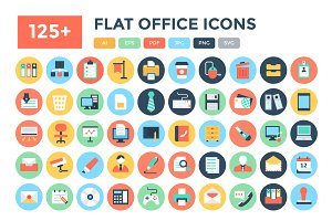 125+ Flat Office Vector Icons