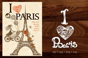 I Love Paris doodle set