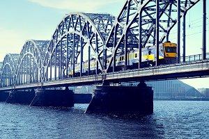 The train on a railway bridge