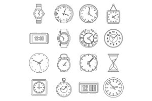 Time and Clock icons set
