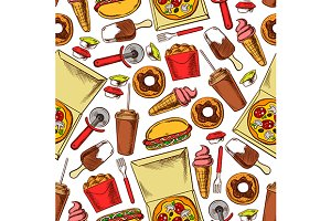 Fast food snacks, drinks pattern