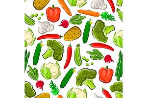 Natural vegetables seamless pattern