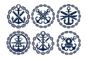 Marine and nautical heraldry emblems