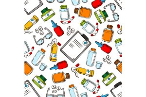 Medical pattern with pills, objects
