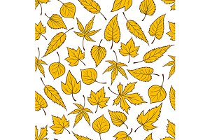 Yellow falling leaves autumn pattern