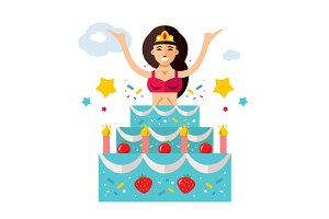 Woman jumping out of the cake