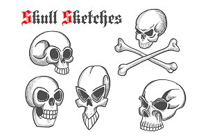 Halloween skulls and bones sketches
