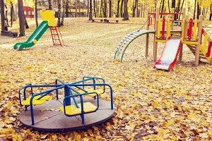 Empty playground at autumn