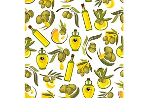 Olive oil and bottles pattern