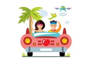 Honeymoon on the retro car