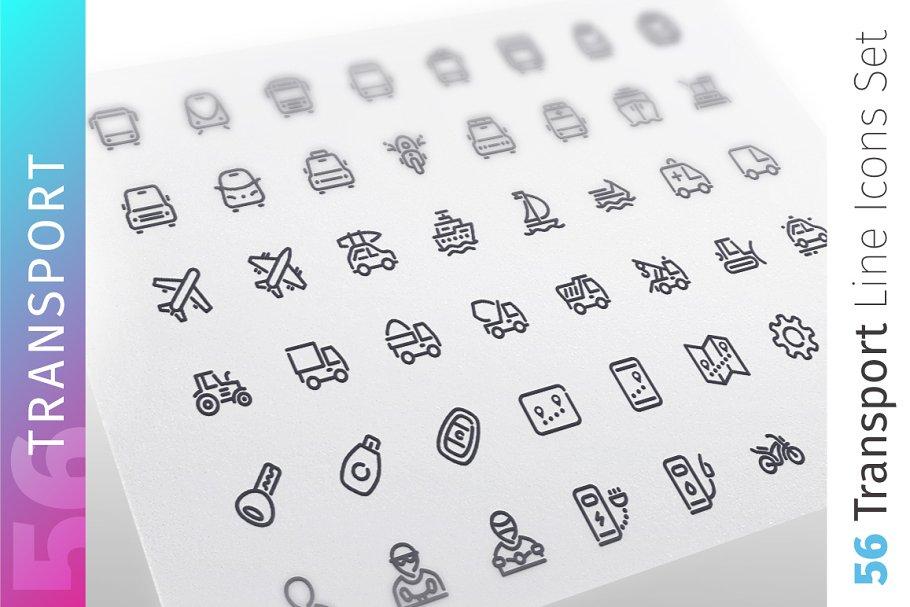 Transport Line Icons Set