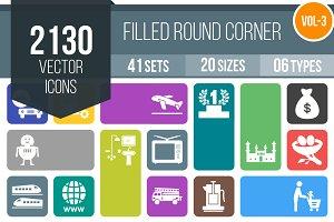 2130 Flat Round Corner Icons (V3)