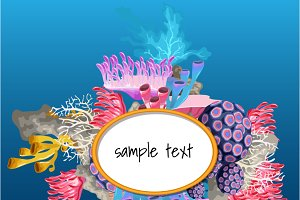 Card with corals and space for text