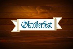 Oktoberfest banner on wooden texture