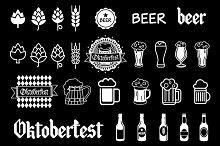 Vector black beer icons set. art