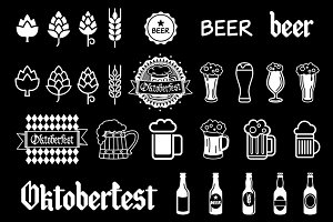 Vector black beer icons set. art