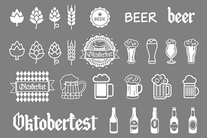 Vector grey beer icons set. art